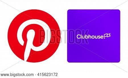 Kiev, Ukraine - March 24, 2021: Popular Social Media Icons, Printed On White Paper, Such As: Pintere