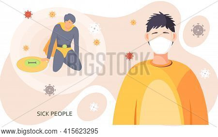 Guy Putting On Face Mask To Prevent Coronavirus Spread. Lowest Level Of Immunity Due To Virus