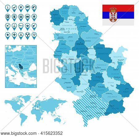 Serbia Detailed Administrative Blue Map With Country Flag And Location On The World Map. Vector Illu