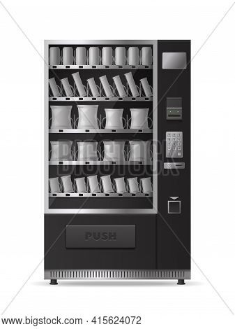 Snacks Vending Machine Realistic Mockup With Electronic Control Panel Isolated On White Background M