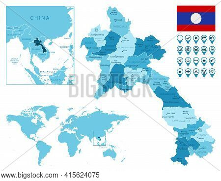 Laos Detailed Administrative Blue Map With Country Flag And Location On The World Map. Vector Illust