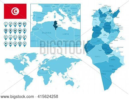 Tunisia Detailed Administrative Blue Map With Country Flag And Location On The World Map. Vector Ill