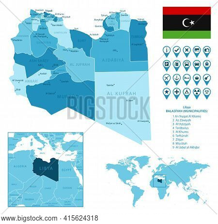Libya Detailed Administrative Blue Map With Country Flag And Location On The World Map. Vector Illus