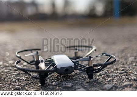 Small Drone Landed On The Hard Surface