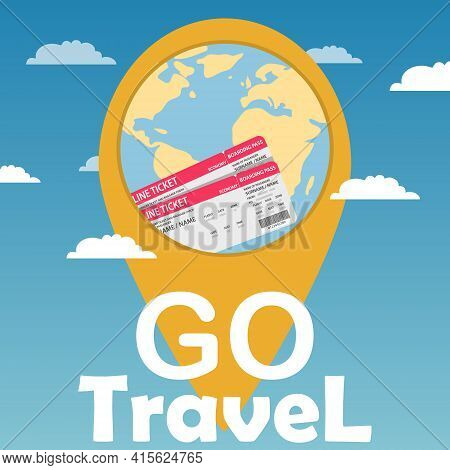 Time To Travel. It's Time To Travel. Location With Earth Globe. Vector, Cartoon Illustration. Vector