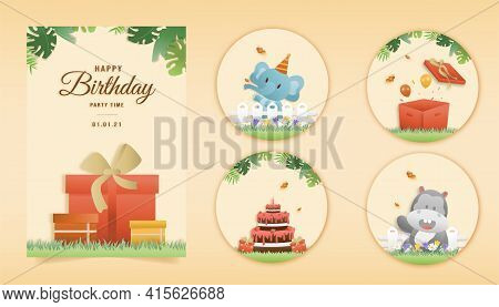 Set Banner Invitation Birthday Greeting Card With A Cute Animal. Jungle Animals Celebrate Children's