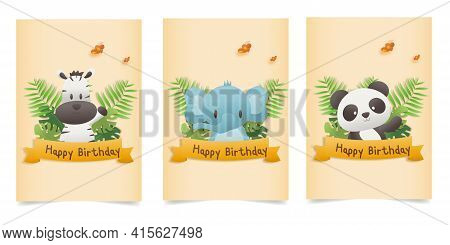 Set Banner Invitation Birthday Greeting Card With A Cute Animal. Character Jungle Animals Celebrate