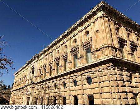 Granada, Spain - December 30, 2019: Renaissance Palace Of Carlos V, Palacio De Carlos V, In Alhambra