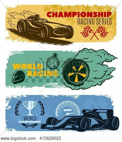 Three Colored Horizontal Racing Banner Set With Titles Championship Racing Series World Racing And W