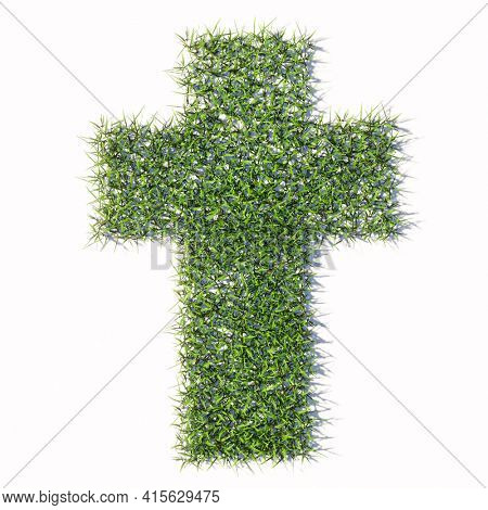 Concept or conceptual green summer lawn grass isolated on white background, sign of religious christian cross. A 3d illustration metaphor for God, Christ, religion, spirituality, prayer, Jesus belief