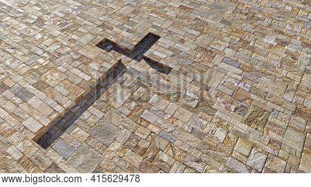 Concept or conceptual cross on a vintage pattern limestone background. 3d illustration metaphor for God, Christ, Christianity, religious, faith, holy, spiritual, Jesus, belief or resurection