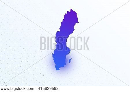 Map Icon Of Sweden. Colorful Gradient Map On Light Background. Modern Digital Graphic Design. Light