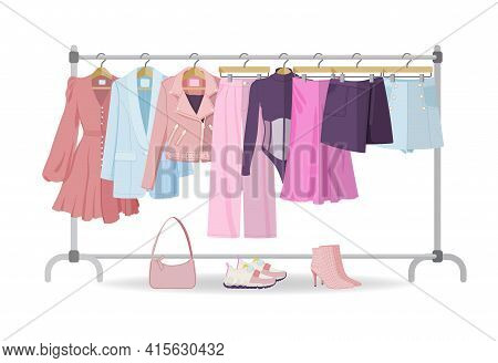 Clothes Hanger With Casual Woman Clothes, Footwear