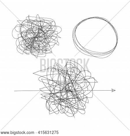 Messy Shapes. Confuse And Problem Concept. Vector Illustration