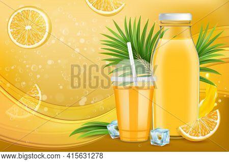 Orange Juice Ads. Tasty Citrus Juice Package Design, Promotion Poster, Banner Template, Vector Illus