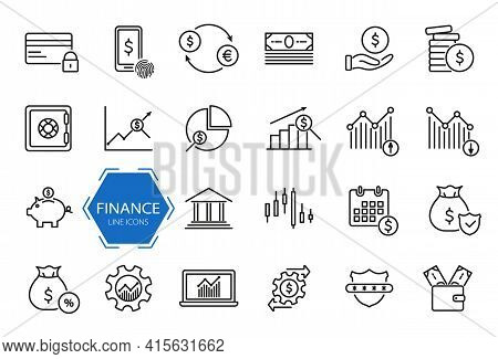 Set Of Financial Icons. Money, Finance, Payment Line Icons. Finance And Analytics Related. Investmen