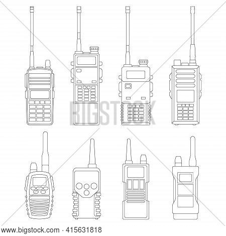 Walkie Talkie Vector Outline Icon. Isolated Outline Set Icon Radio Walky .vector Illustration Walkie