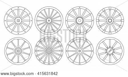 Wheel Of West Wild Isolated Outline Set Icon. Vector Outline Set Icon Wooden Cartwheel. Vector Illus
