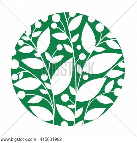 Green Floral Circle On The White Background. Vector Formate Eps 10