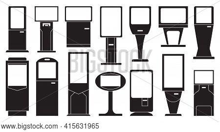 Terminal Isolated Black Set Icon.vector Illustration Illustration Atm On White Background .black Vec