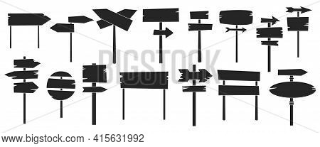 Wooden Post Vector Illustration On White Background. Isolated Black Set Icon Signpost. Vector Black