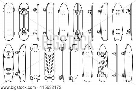 Skate Isolated Outline Set Icon.vector Illustration Illustration Skateboard On White Background .out