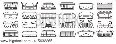 Sport Arena Vector Illustration On White Background. Isolated Outline Set Icon Stadium. Vector Outli
