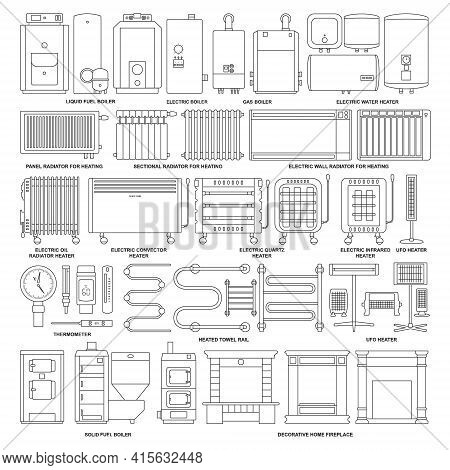 Electric Heater Vector Outline Set Icon. Vector Illustration Boiler On White Background. Isolated Ou