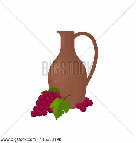 Clay Jug For Red And White Wine With A Bunch Of Red Grapes And Grape Leaves. Vector Illustration Iso