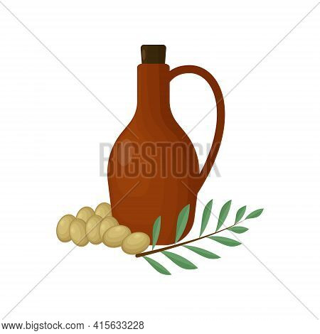 Clay Jug For Olive Oil With Green Olives And Olive Twig With Green Leaves. Vector Illustration Isola