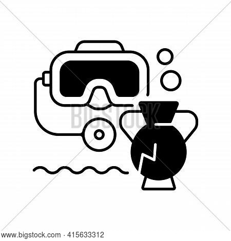 Underwater Archaeology Black Linear Icon. Archaeology Practiced Underwater. Accessing And Working Un