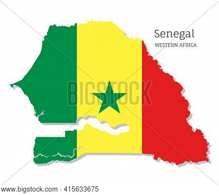 Map Of Senegal With National Flag. Highly Detailed Map Of Western Africa Country