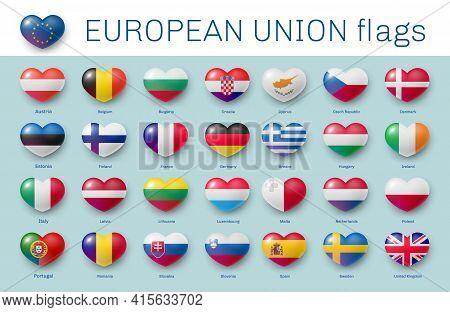 European Union Membership Country Flag Heart Shape