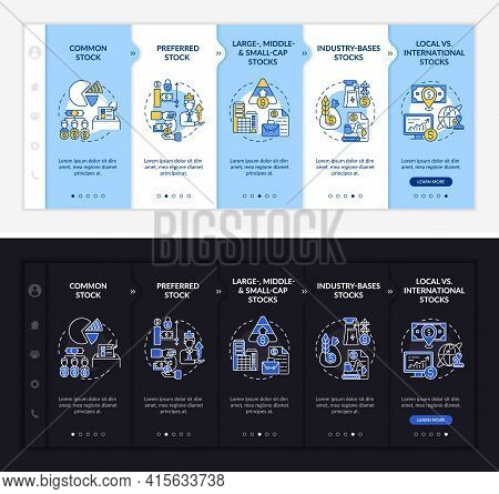 Assets Types Onboarding Vector Template. Responsive Mobile Website With Icons. Web Page Walkthrough