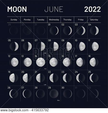 June Moon Phases Calendar On Dark Night Sky