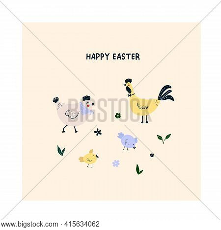 Cute Hand Drawn Chicken, Rooster, Chick On Meadow With Leaves, Flowers. Cozy Hygge Scandinavian Happ