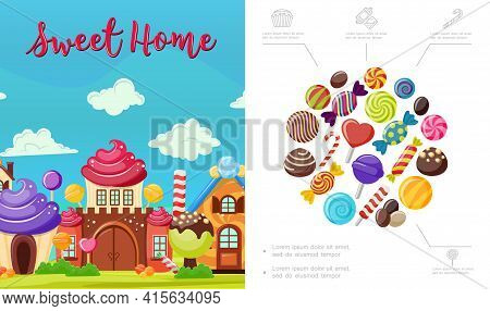 Flat Sweet Home Composition With Tasty Colorful Candies Bright House Of Whipped Cream Chocolate And