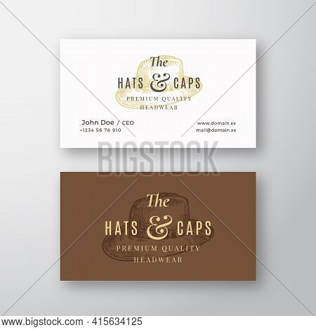 Hats And Caps Store Abstract Vector Logo And Business Card Template. Italian Hat Sketch Drawing With