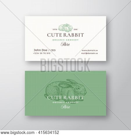 Cute Rabbit Organic Grocery Store. Abstract Vector Logo And Business Card Template. Hand Drawn Engra