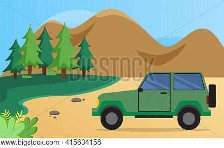 Transport Drives On Road Near Forest. Green Family Car For Driving Into Woods Without Driver