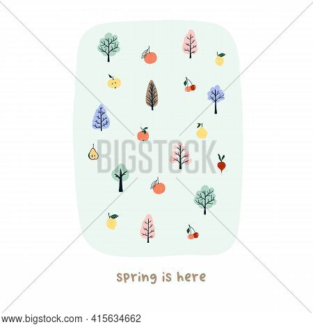 Cute Hand Drawn Tiny Spring Trees And Fruits. Cozy Hygge Scandinavian Style Template For Postcard, P