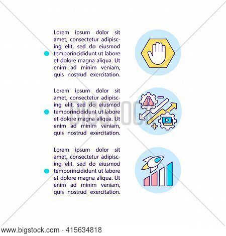 Smart Content Marketing Tips Concept Line Icons With Text. Ppt Page Vector Template With Copy Space.