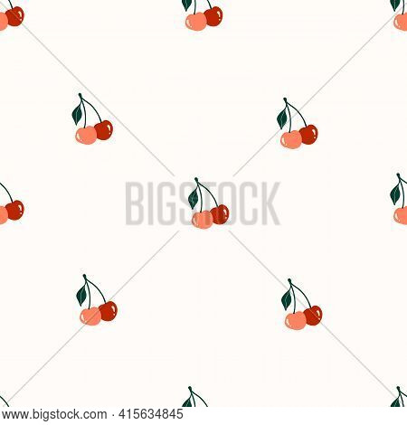 Seamless Pattern With Cute Hand Drawn Red Cherries. Cozy Hygge Scandinavian Style Template For Fabri