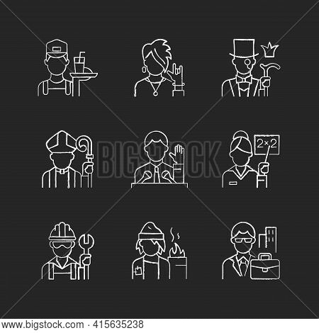 Social Class Chalk White Icons Set On Black Background. Working Poor. Subculture Group. Aristocratic