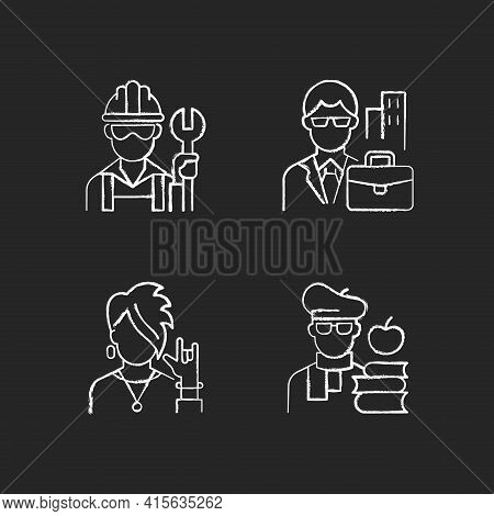 Social Classification Chalk White Icons Set On Black Background. Blue And White Collar Workers. Subc