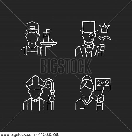 Social Class Type Chalk White Icons Set On Black Background. Working Poor. Aristocratic Elite. Clerg