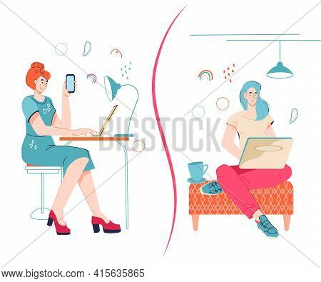 Freelancer Vs Office Work Concept With Women Working At Home And In Office. Comparing Remote Work Wi