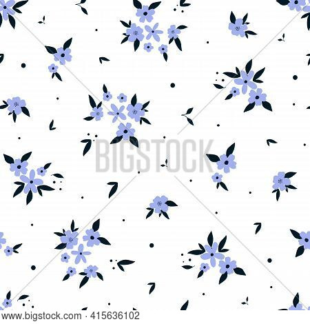 Seamless Pattern With Cute Hand Drawn Purple Flowers And Leaves. Cozy Hygge Scandinavian Style Templ