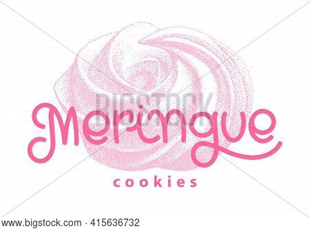 Logotype Of Airy French Meringue Twirls, Marshmallow, Zephyr. Vector With Lettering. Sweetness, Swee