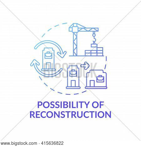 Reconstruction Possibility Concept Icon. Office Building Idea Thin Line Illustration. Working Enviro